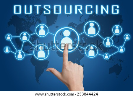 Outsourcing concept with hand pressing social icons on blue world map background. - stock photo