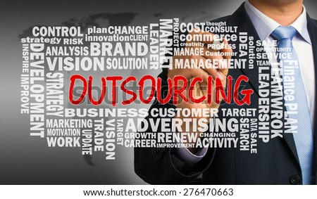 outsourcing concept with related word cloud handwritten by businessman