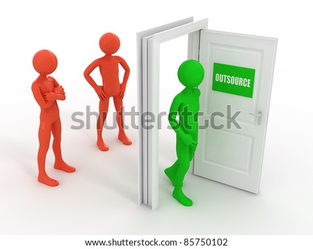 Outsourcing 3d concept - stock photo