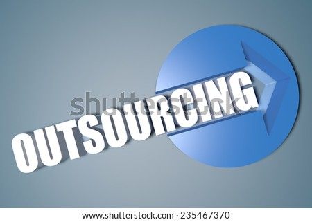 Outsourcing - 3d text render illustration concept with a arrow in a circle on blue-grey background - stock photo