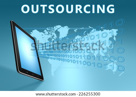 Outsourcing illustration with tablet computer on blue background - stock photo