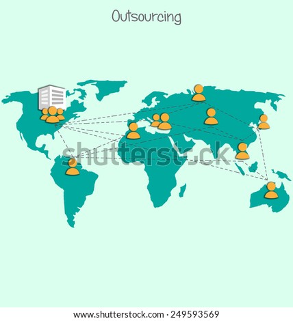 Outsourcing image world map icons on stock illustration 249593569 outsourcing image with world map and icons on blue gumiabroncs Images