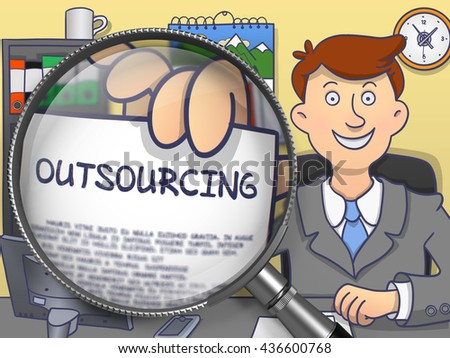Outsourcing on Paper in Business Man's Hand through Magnifying Glass to Illustrate a Business Concept. Colored Modern Line Illustration in Doodle Style. - stock photo