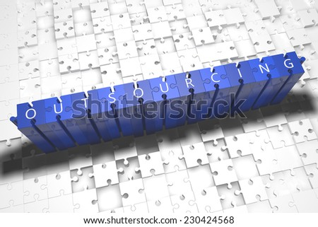 Outsourcing - puzzle 3d render illustration with block letters on blue jigsaw pieces  - stock photo
