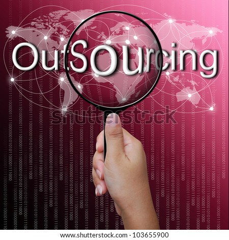 OutSourcing, word in Magnifying glass,network background - stock photo