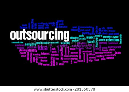 outsourcing word on cloud concept with feet shape - stock photo