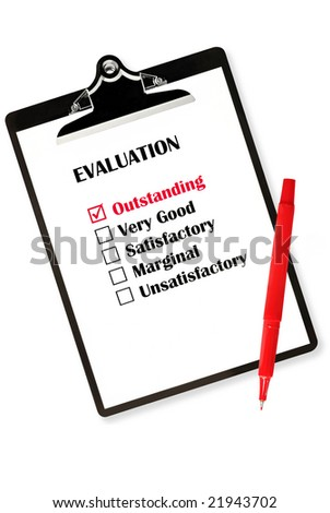 Outstanding evaluation on clipboard, with red pen. - stock photo