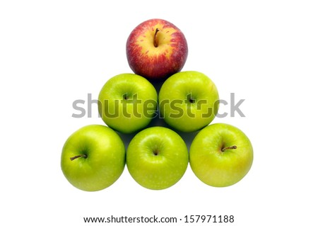 Outstanding red apple on green apple isolate  - stock photo