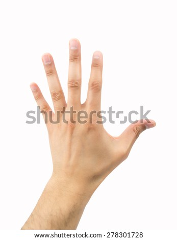 outstretched hand on white background