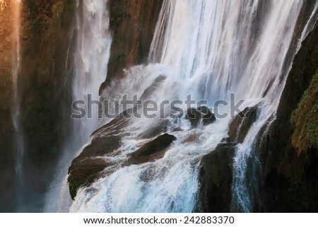 ouzoud largest waterfall cascades of morocco - stock photo