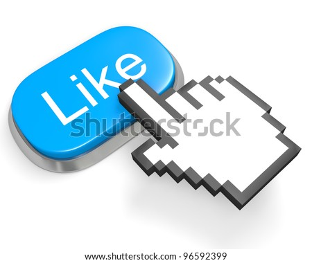 Oval blue button Like and hand cursor