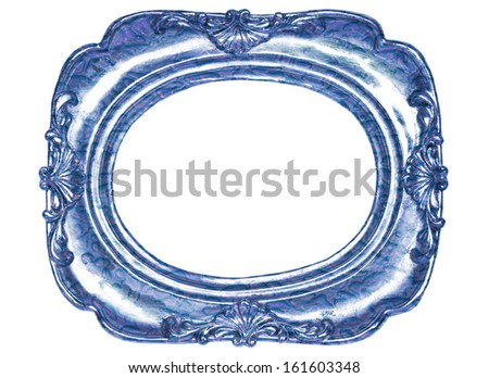 Oval blue metal picture frame with a decorative pattern  isolated on white background - stock photo