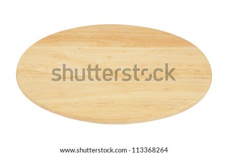 Oval chopping board isolated on white background