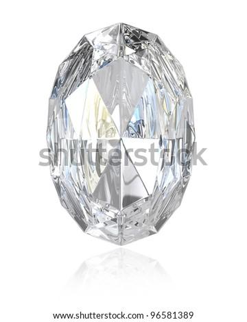 Oval cut diamond, isolated on white background - stock photo