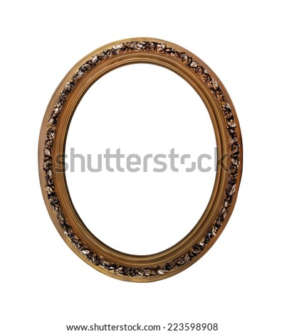 Oval decorative picture frame golden color on a white background