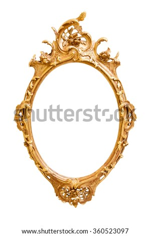 Oval decorative picture frame isolated on white background with clipping path