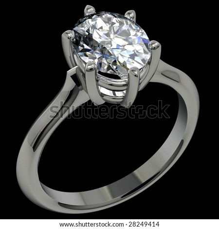 oval diamond platinum solitaire engagement ring on black