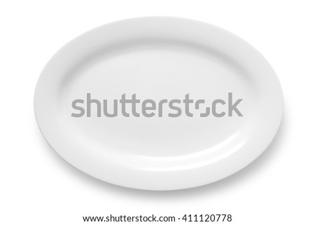Oval empty plate isolated on white background