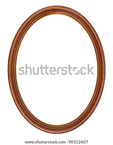 Oval frame isolated on white - stock photo