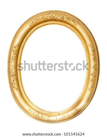 oval gold frame. Isolated over white background with clipping path - stock photo