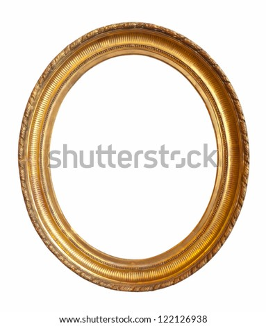 oval gold picture frame. Isolated over white - stock photo