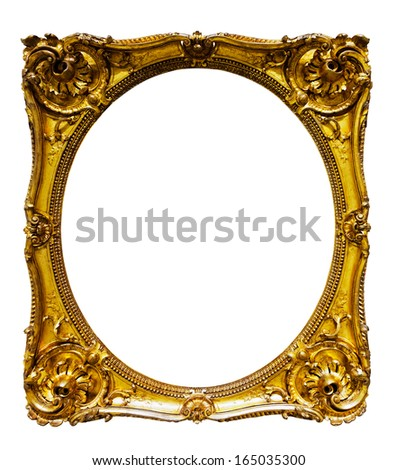 oval gold picture frame. Isolated over white background, may be used for photo or picture - stock photo