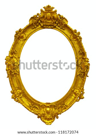 oval gold picture frame. Isolated over white background with clipping path - stock photo