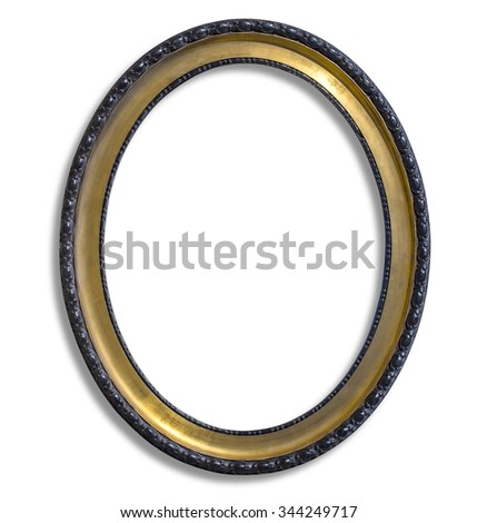 oval gold picture frame. Isolated over white with clipping path