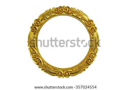 Oval golden  picture frame isolated  over white.