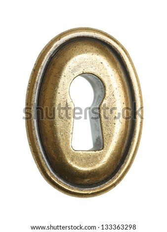 Oval keyhole isolated on a white background. - stock photo