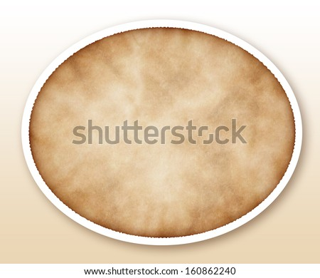 Oval old paper isolated on white  - stock photo