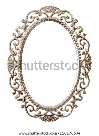 Oval ornate frame isolated on white - stock photo