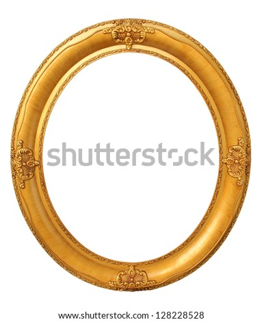 Oval photo gold wooden frame isolated with clipping path - stock photo