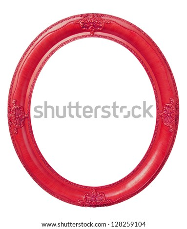 Oval photo red wooden frame isolated with clipping path - stock photo