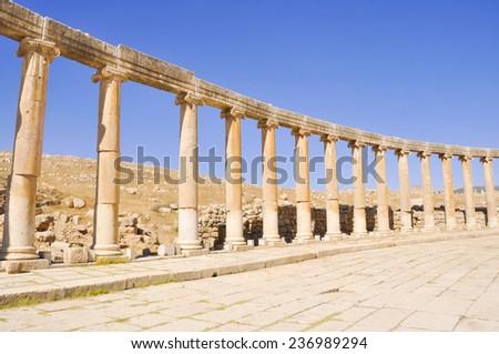 Oval Plaza at Jerash ruins, Jordan - stock photo