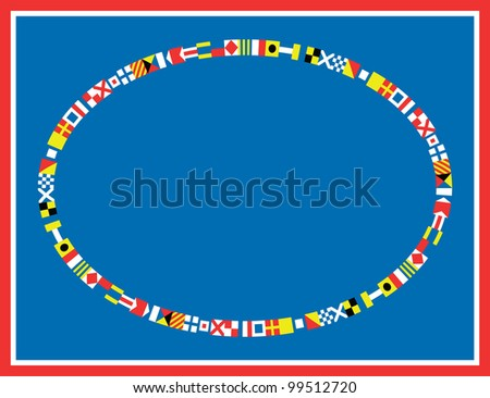 oval red, white and blue nautical flags border or frame. - stock photo