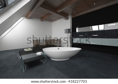 Oval shaped bathtub in the middle of bathroom with dark carpeted floor, bench and cabinets. 3d Rendering.