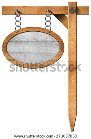 Oval Sign with Frame Chain and Pole. Empty oval wooden sign with wooden brown frame hanging with metal chain on a wooden pole isolated on a white background - stock photo