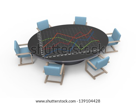 Oval table with strategic planning concept - stock photo