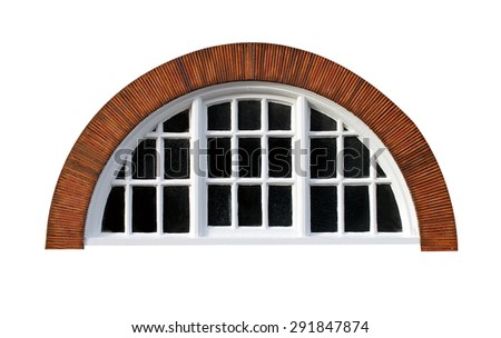 Oval window isolated on a modern red brick building. - stock photo