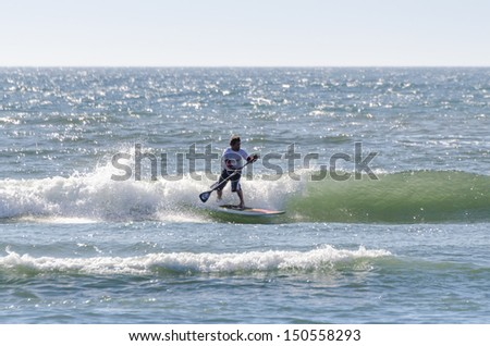 OVAR, PORTUGAL - AUGUST 18: Paulo Ferreira 'Palex' at 4st stage of National Stand up paddle Championship  on august 18, 2013 in Ovar, Portugal.
