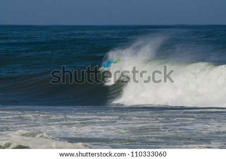 OVAR, PORTUGAL - AUGUST 16: Unidentified surfer at 1st Stage of the National Open Bodyboard Championship on august 16, 2012 in Ovar, Portugal.