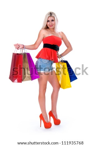 ovely woman with shopping bags