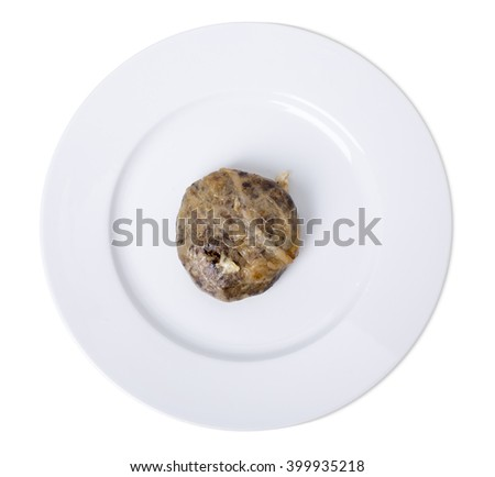 Oven baked liver cutlets on a white plate. Isolated on a white background. - stock photo