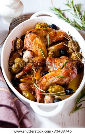 Oven baked rabbit with olives and rosemary