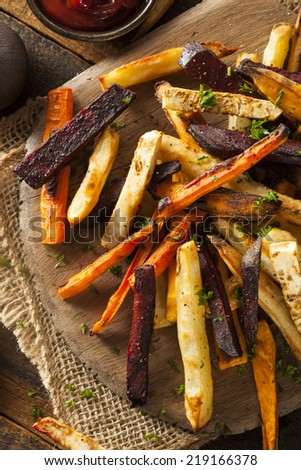 Oven Baked Vegetable Fries with Carrots, Potato, and Beets - stock photo