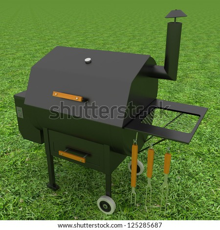 oven barbecue grill on the green grass