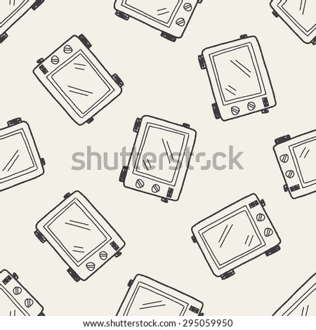 oven doodle seamless pattern background