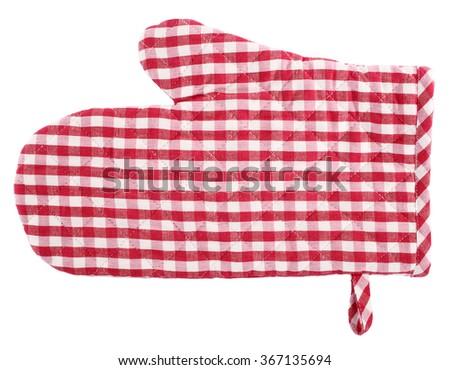Oven glove red white plaid - stock photo
