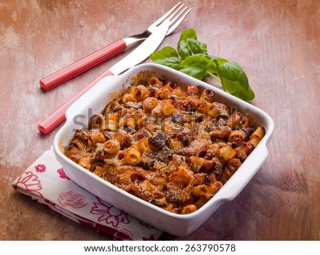 oven pasta with tomato sauce and eggplants - stock photo